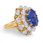 blue yellow silver oval ring