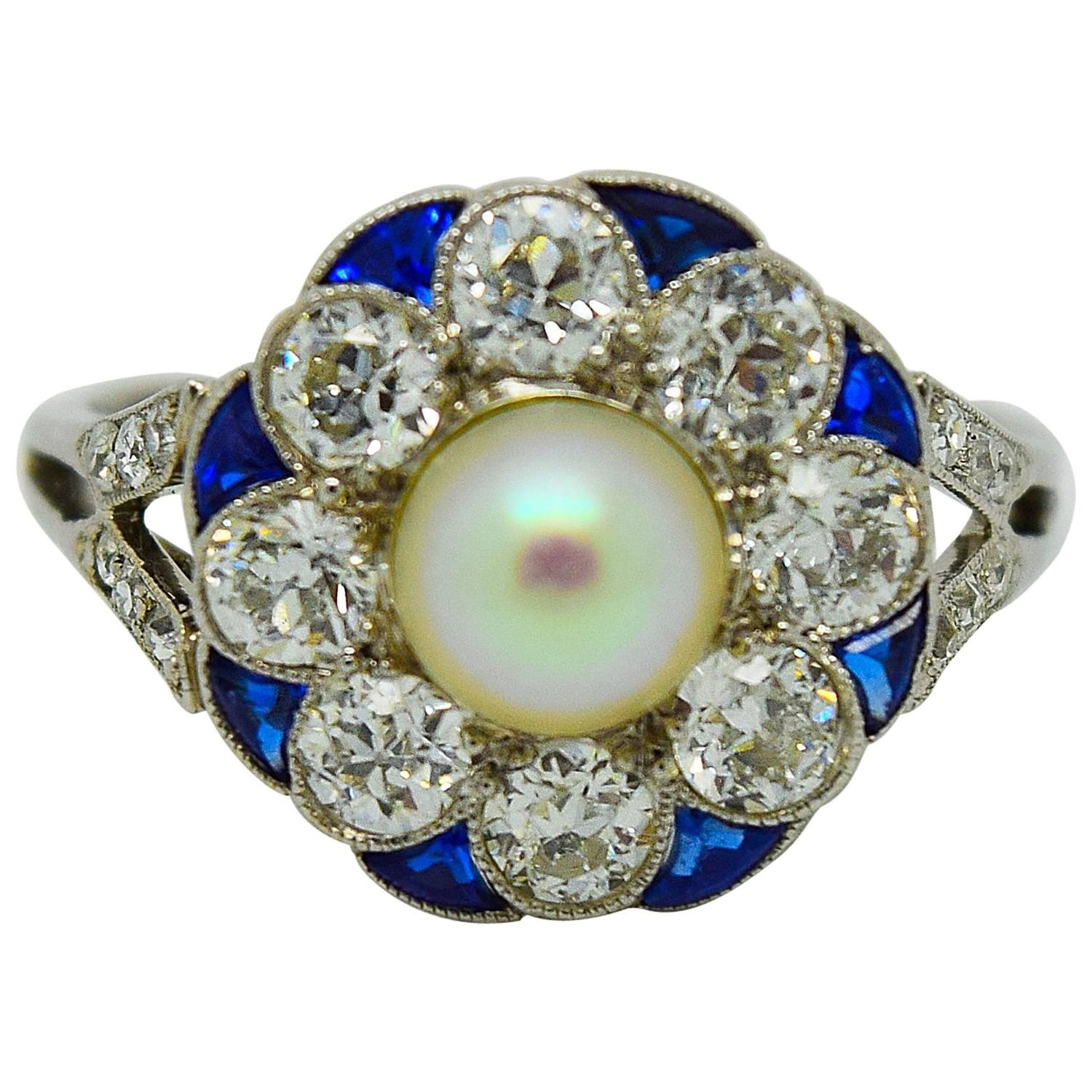 New Exquisite Art Deco Diamond Sapphire Pearl Ring - YO15